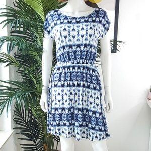 Papermoon For Stitch Fix Blue Printed Mini Dress L